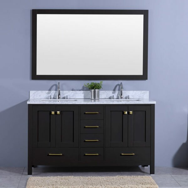 Bluegrass 61 Double Bathroom Vanity Set with Mirror by Winston Porter