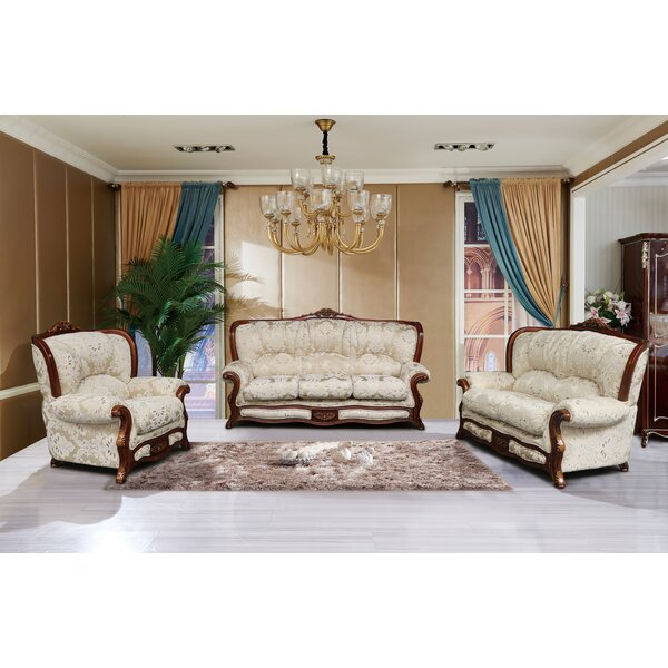 Vernonburg 3 Piece Gold And White Embossed Fabric Standard Living Room Set by Astoria Grand