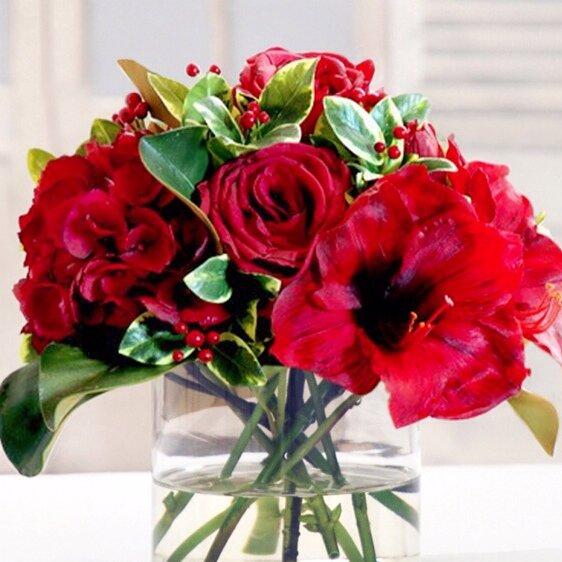 Rose and Holly Floral Arrangement by Fleur De Lis Living
