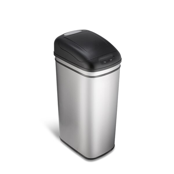 Stainless Steel 11.8 Gallon Motion Sensor Trash Can by Nine Stars
