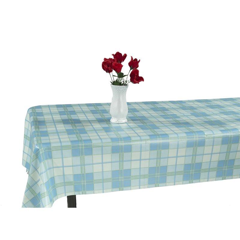 Berrnour Home Essential Vinyl Plaid Design Indoor/Outdoor Tablecloth ...
