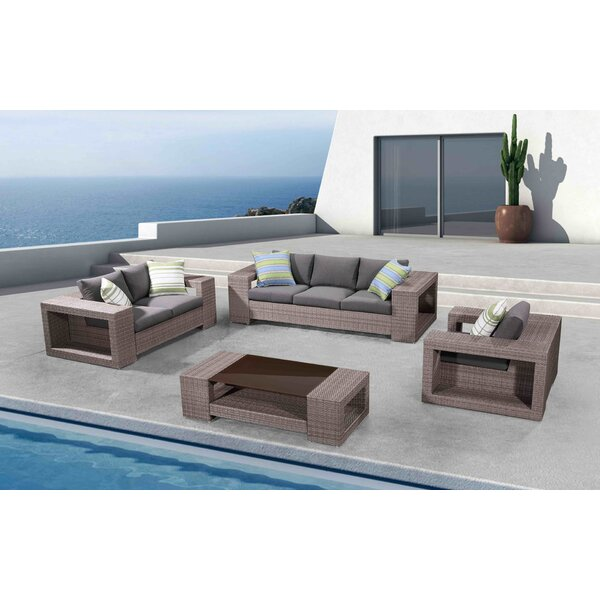 Carrier 4 Piece Rattan Sofa Seating Group with Cushions by Rosecliff Heights