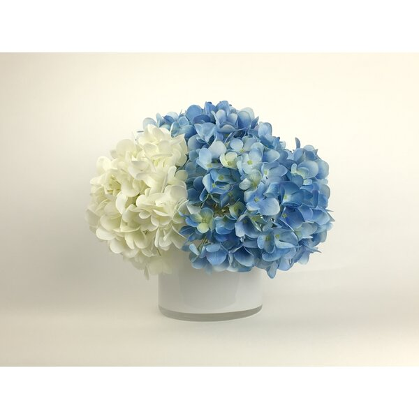Artificial Silk Hydrangeas Floral Arrangement in Decorative Vase by Ophelia & Co.