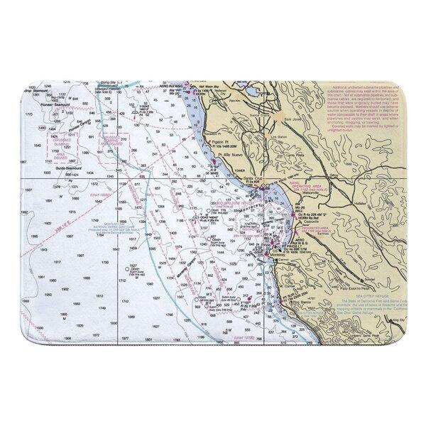 Nautical Chart Santa Cruz, Monterey CA Rectangle Memory Foam Non-Slip Bath Rug