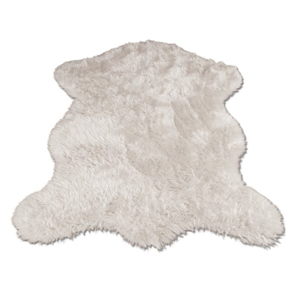 Jerod Polar Bear Pelt Faux Fur White Area Rug by V