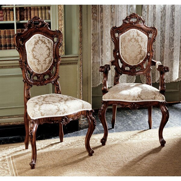 Toulon French Rococo Upholstered 6 Piece Dining Chair Set (Set of 6) by Design Toscano