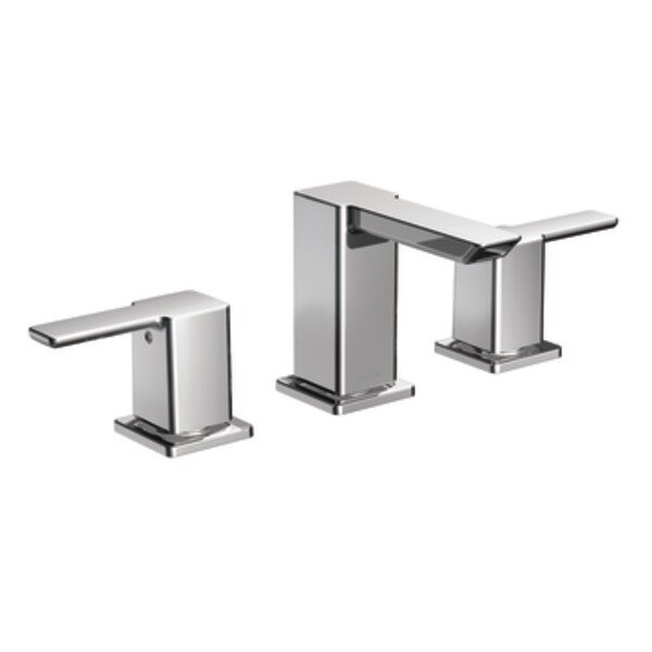 90 Degree Widespread Bathroom Faucet with Drain Assembly by Moen