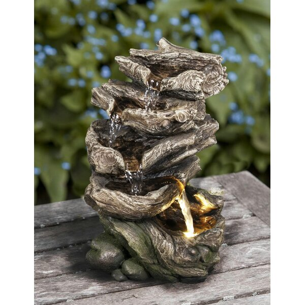 Polyresin Multi Level Logs Fountain with LED Light by Hi-Line Gift Ltd.