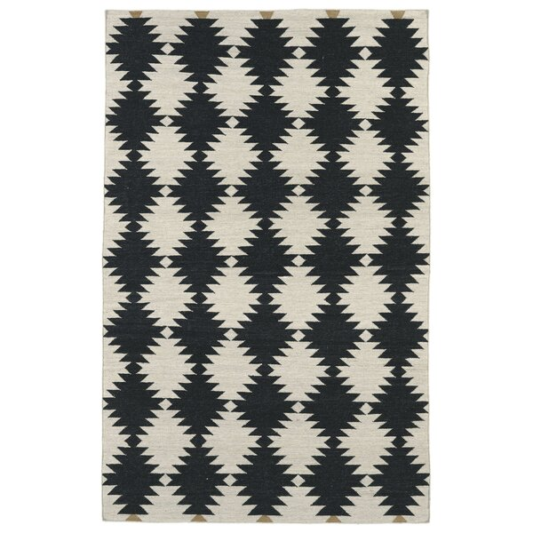 Marble Falls Black & Cream Geometric Area Rug by Wrought Studio