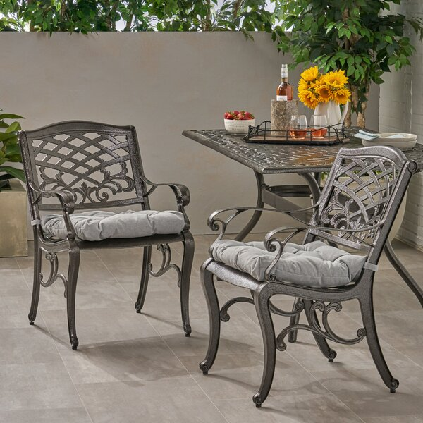 Pilkington Patio Dining Chair with Cushion (Set of 2) by Fleur De Lis Living