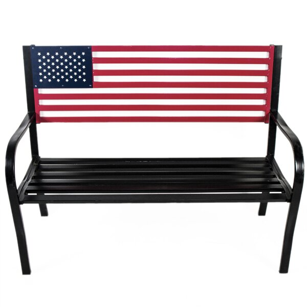 Belvidera American Flag Metal Park Bench by August Grove