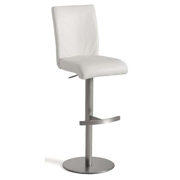 Clower Full Back Footrest Adjustable Height Swivel Bar Stool by Orren Ellis