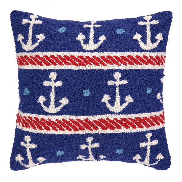 Anchors Hook Wool Throw Pillow by Peking Handicraft