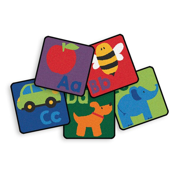 26 Piece Sequential Literacy Seating Square Area Rug Set by Carpets for Kids Premium Collection