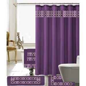 purple and brown shower curtain. Austyn 18 Piece Embroidery Shower Curtain Set Purple Curtains You ll Love  Wayfair