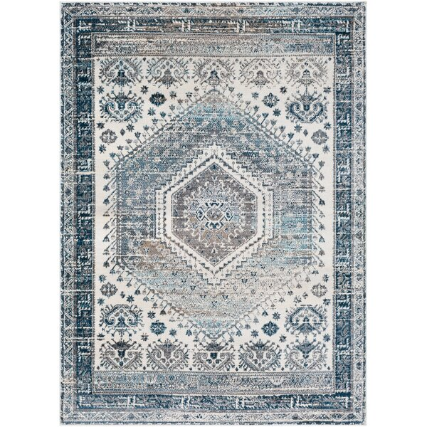 Neppie Distressed Gray/Light Gray Area Rug by Bungalow Rose