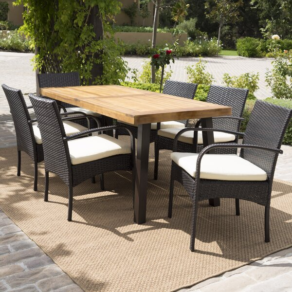 Hoff 7 Piece Dining Set with Cushions by Bayou Breeze