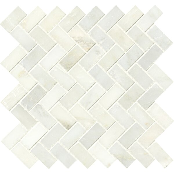 Greecian Herringbone Polished Glass/Stone Mosaic Tile in White by MSI