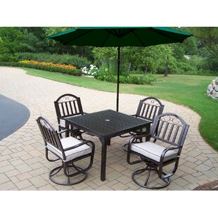 Lisabeth 5 Piece Swivel Dining Set with Cushions and Umbrella By Red Barrel Studio