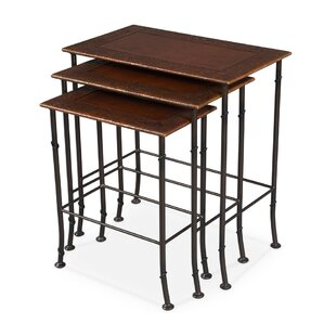 Kew Gardens Leather 3 Piece Nesting Tables by Sarreid Ltd