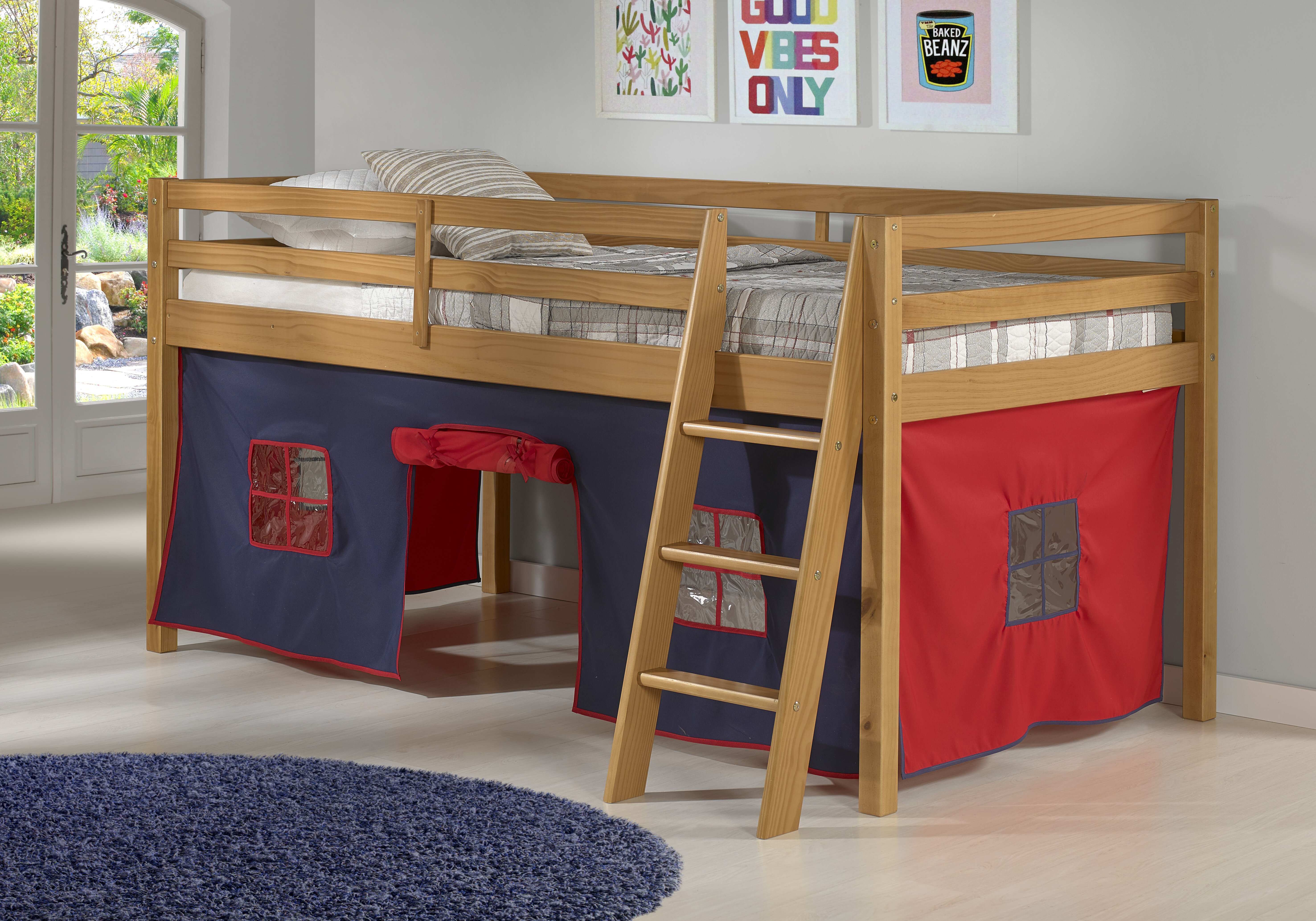 Picture of: Zoomie Kids Gladwin Junior Twin Low Loft Bed With Tent Reviews Wayfair