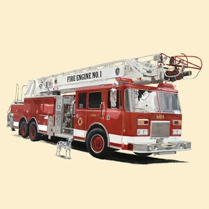 Classic Red Fire Engine Canvas Art by Oopsy Daisy