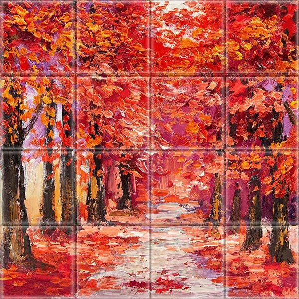 2 x 2 Glass Decorative Mural Tile in Red/Gray by Upscale Designs by EMA