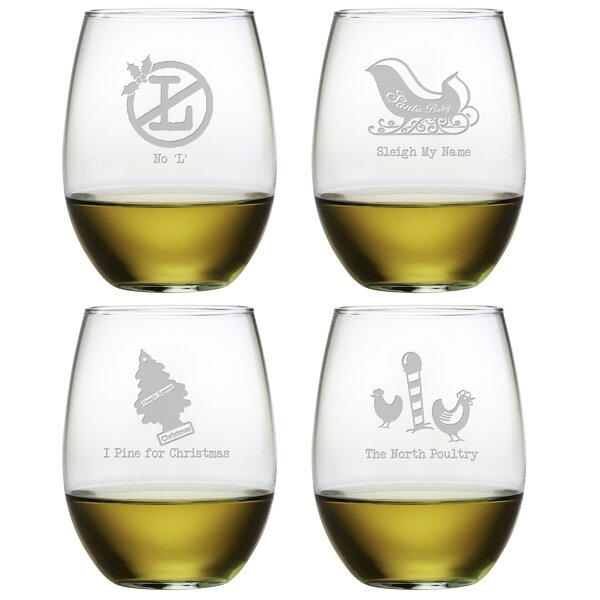 Off-the-Wall Assortment Glass 21 oz. All Purpose Stemless Wine Glass (Set of 4) by The Holiday Aisle