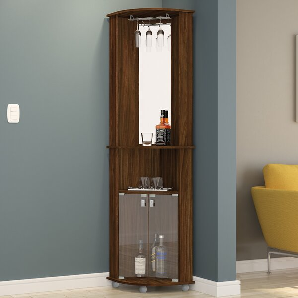 Corner Bar Cabinet with Mirrored Wall by Boahaus LLC