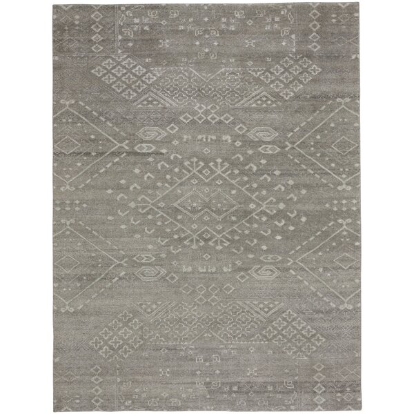 Cannae Hand-Knotted Dark Gray Area Rug by Capel Rugs