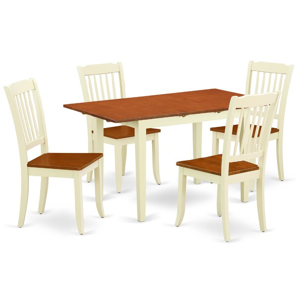 Kronos 5 Piece Extendable Solid Wood Dining Set by August Grove