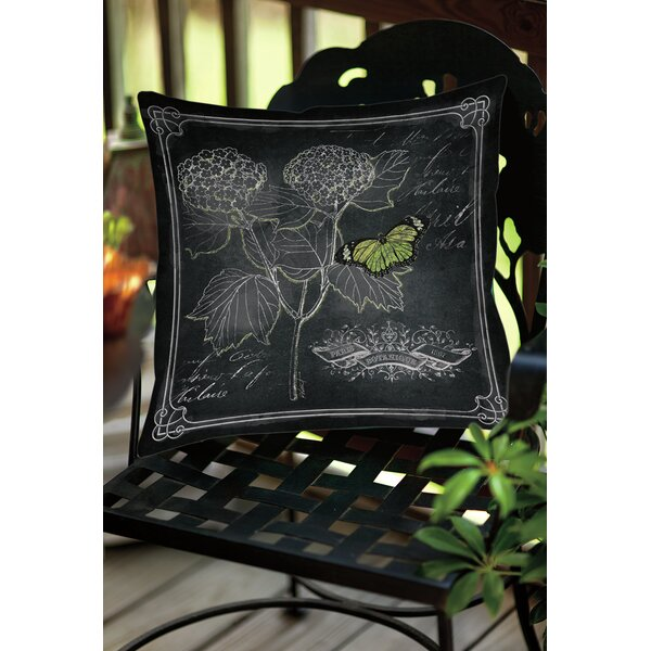 Chalkboard Botanical 1 Indoor/Outdoor Throw Pillow by Manual Woodworkers & Weavers