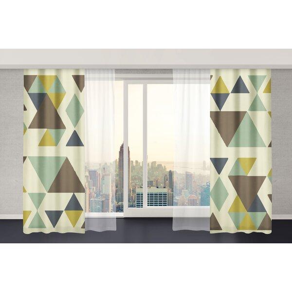 San Juan Geometric Semi-Sheer Rod Pocket Curtain Panels (Set of 2) by Langley Street