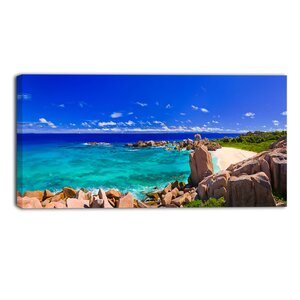 Tropical Beach Panorama Seascape Photographic Print on Wrapped Canvas by Design Art