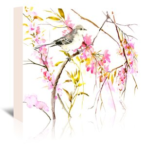 Mockingbird and Cherry Blossom Painting Print on Wrapped Canvas by East Urban Home