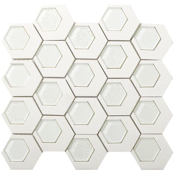 Catalyst 3 x 3 Stone/Glass Mosaic Tile in Garnet by Emser Tile