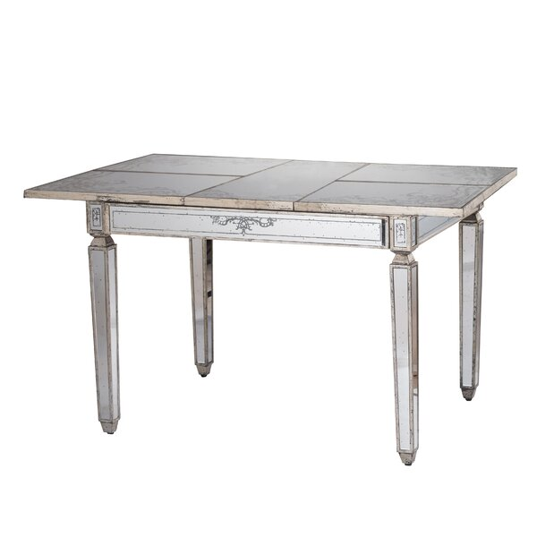 Jantz Violet Mirrored Extendable Dining Table by Mercer41 Mercer41