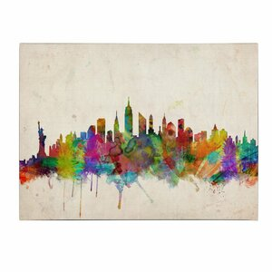 New York Skyline by Michael Tompsett Framed Painting Print on Wrapped Canvas by Trademark Fine Art
