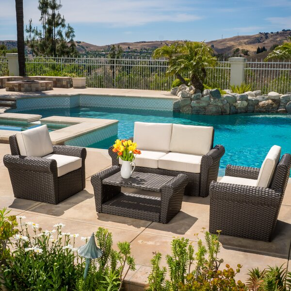 Coleman 4 Piece Rattan Sofa Seating Group With Cushions By Rosecliff Heights