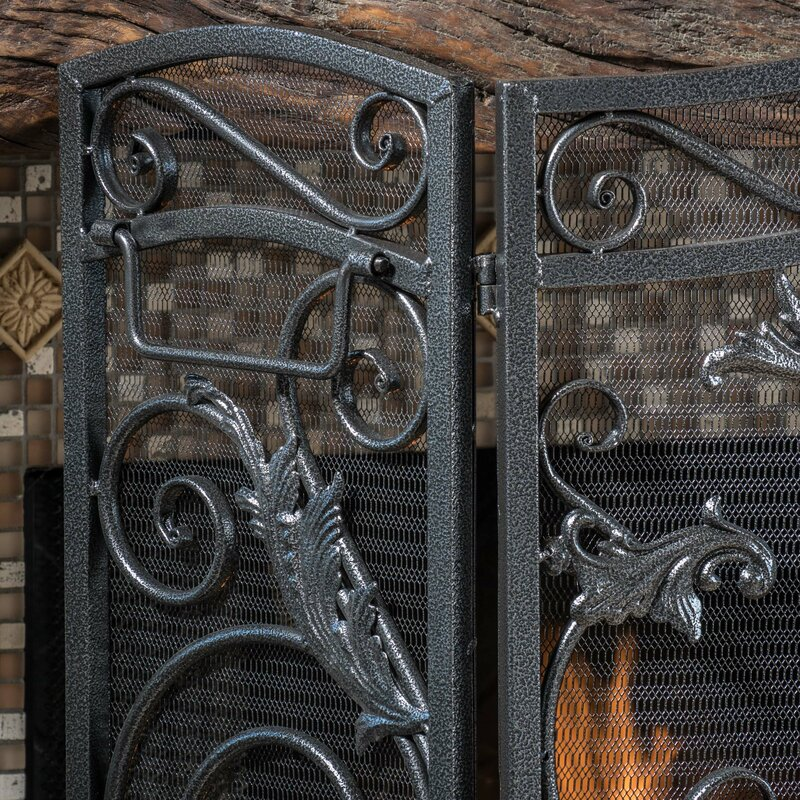 Home Loft Concepts Hayward 3 Panel Iron Fireplace Screen & Reviews ...