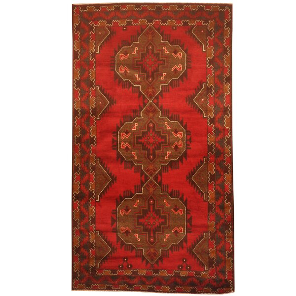 Prentice Hand-Knotted Red/Brown Area Rug by Isabelline