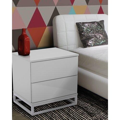 Nachttisch Advait mit 2 Schubladen Hashtag Home Farbe (Basis/Top): Weiß | Schlafzimmer > Nachttische | Hashtag Home