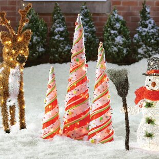 3 piece cone christmas decoration set - Wayfair Outdoor Christmas Decorations