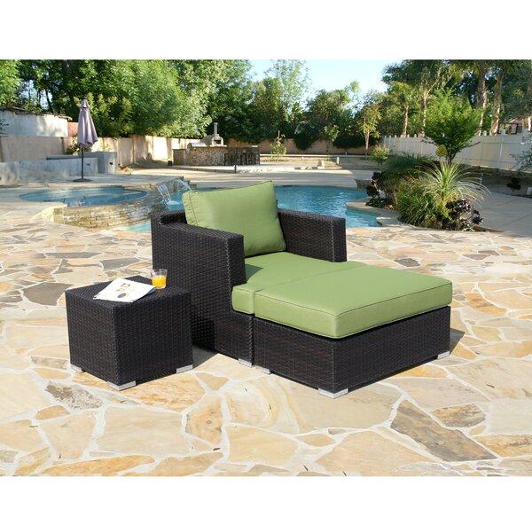 Hallwood 3 Piece Rattan Seating Group with Sunbrella Cushions by Ivy Bronx