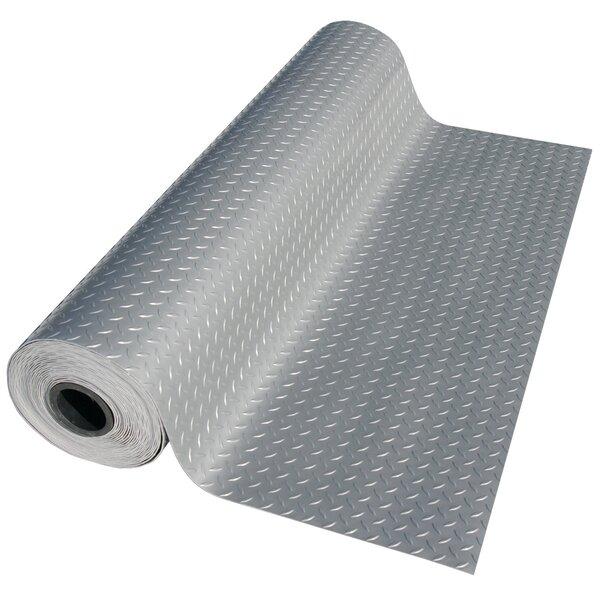 Metallic Diamond-Plate Silver 4ft x 20ft Flooring Mat by Rubber-Cal, Inc.