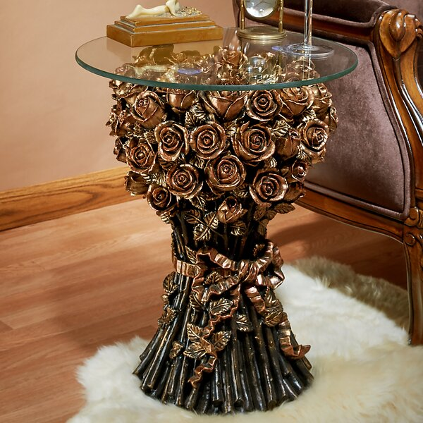 Roses Glass Topped End Table By Design Toscano