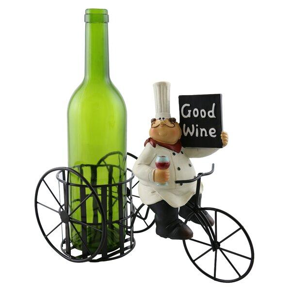 Roseann Chef Holding Sign Enjoying 1 Bottle Tabletop Wine Bottle Rack by Wine Bodies Wine Bodies