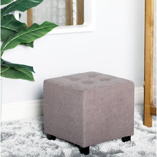 Contemporary 14 X Inch Square Grey Pouf