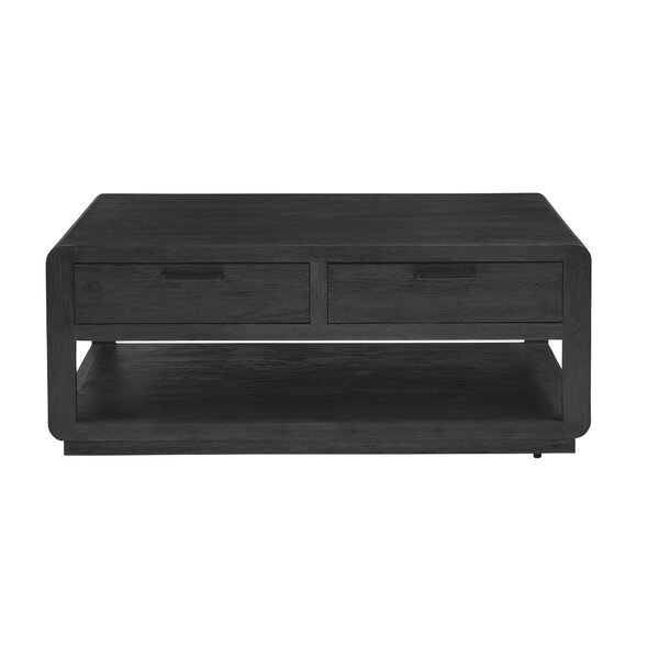 Review Visalia Solid Wood Floor Shelf Coffee Table With Storage