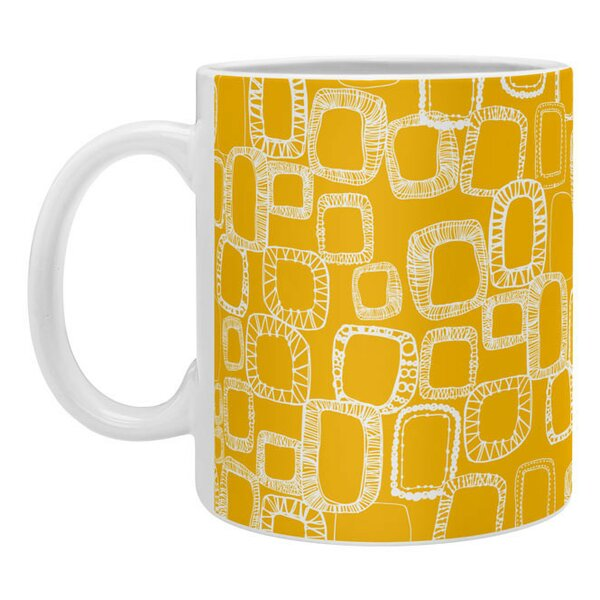 Shapes and Squares Mustard Coffee Mug by East Urban Home